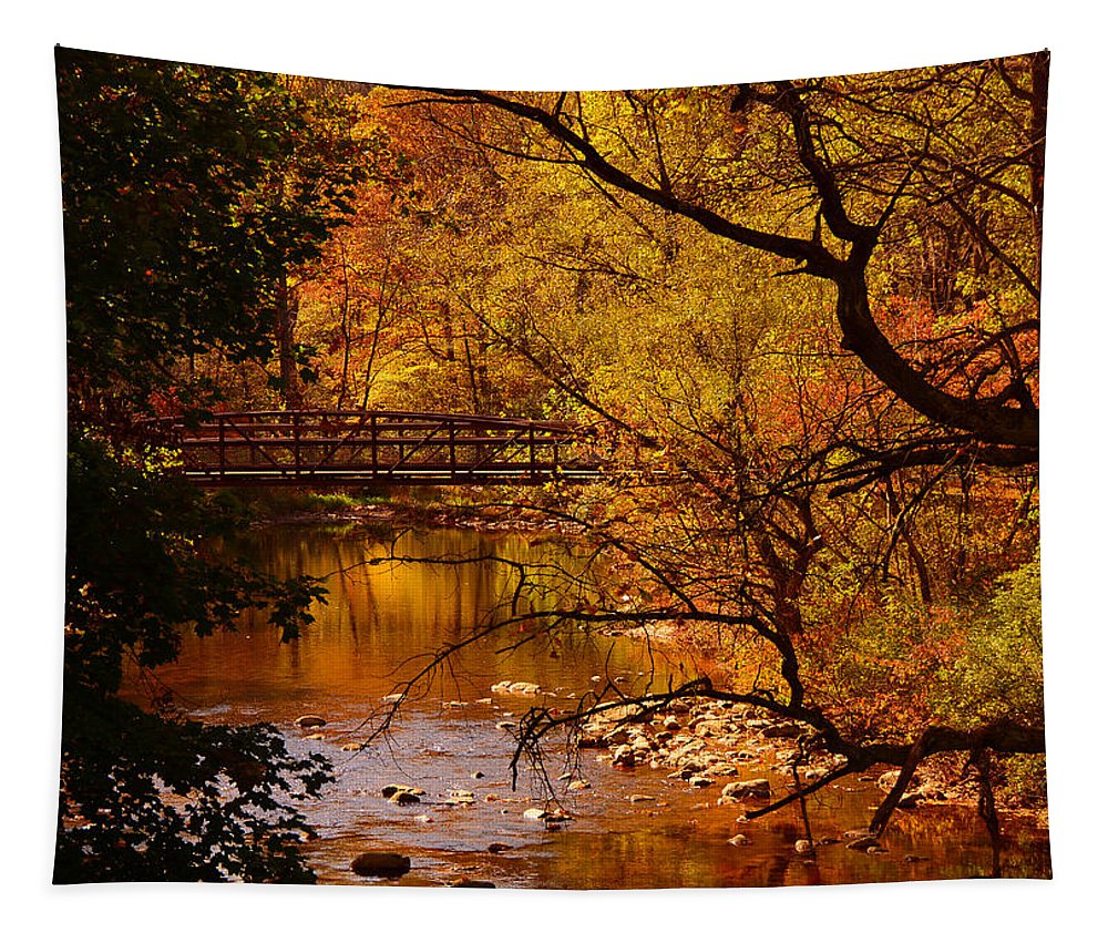 Jacobsburg State Park Pa Tapestry featuring the photograph Autumn Scene by Raymond Salani III