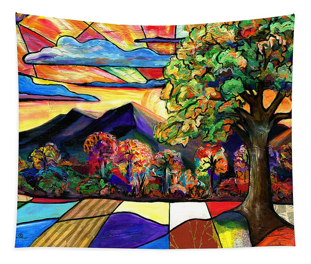 Everett Spruill Tapestry featuring the painting Autumn Sunrise by Everett Spruill