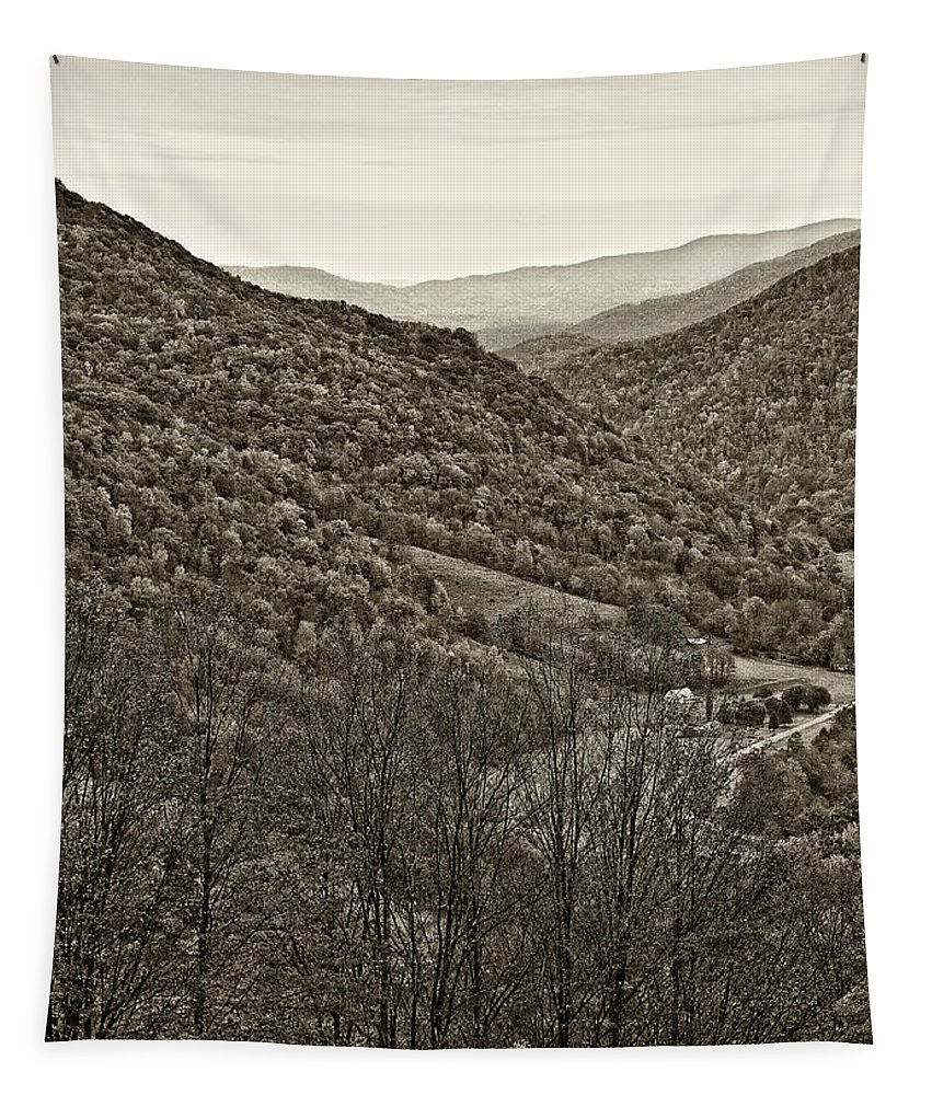 West Virginia Tapestry featuring the photograph Autumn Valley Sepia by Steve Harrington