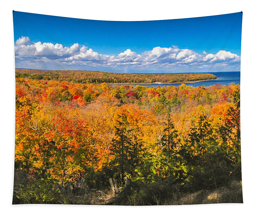 Door County Tapestry featuring the photograph Autumn Vistas of Nicolet Bay by Ever-Curious Photography