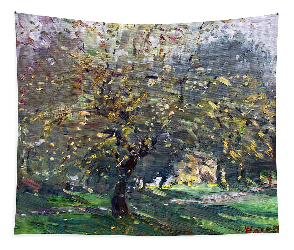 Landscape Tapestry featuring the painting Autumn by Ylli Haruni