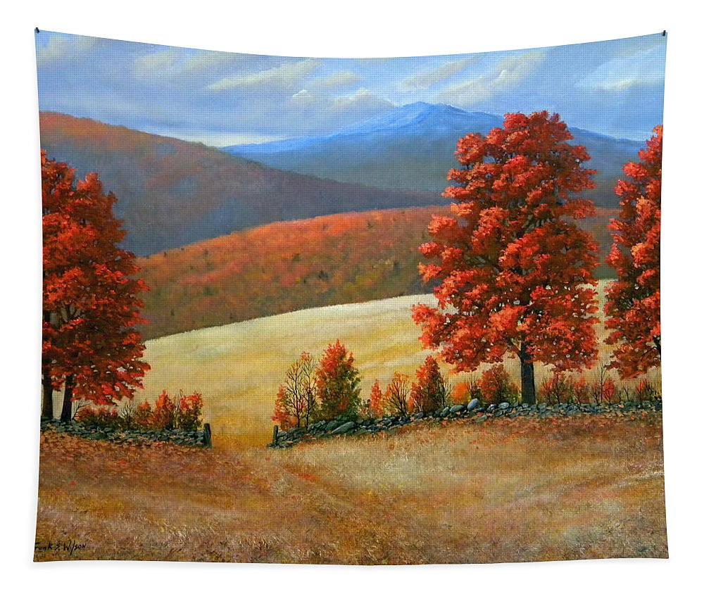 Landscape Tapestry featuring the painting Autumns Glory by Frank Wilson