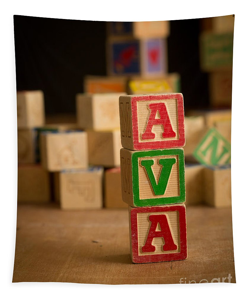 Alphabet Tapestry featuring the photograph Ava - Alphabet Blocks by Edward Fielding