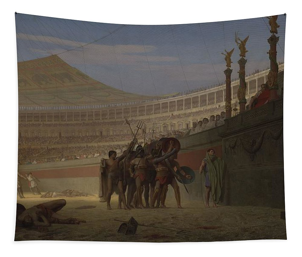 Gladiator Tapestry featuring the painting Ave Caesar Morituri Te Salutant , 1859 by Jean Leon Gerome