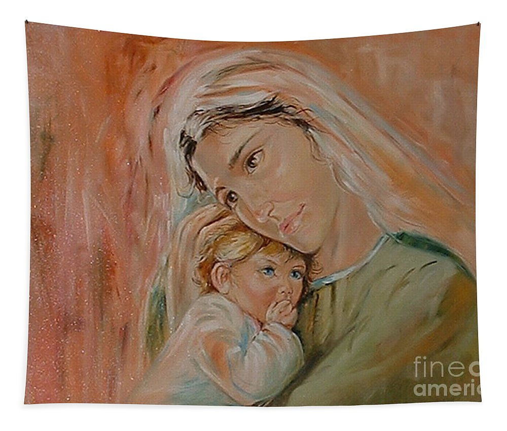 Classic Art Tapestry featuring the painting Ave Maria by Silvana Abel