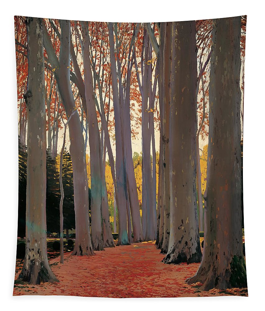 Painting Tapestry featuring the painting Avenue Of Plain Trees by Mountain Dreams