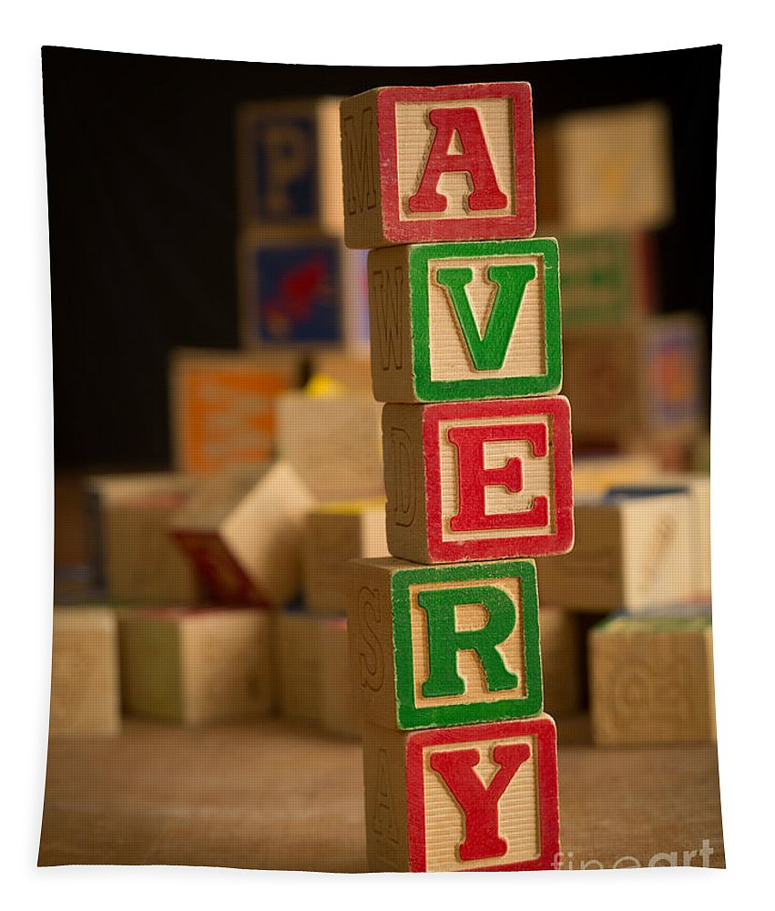 Alphabet Tapestry featuring the photograph Avery - Alphabet Blocks by Edward Fielding