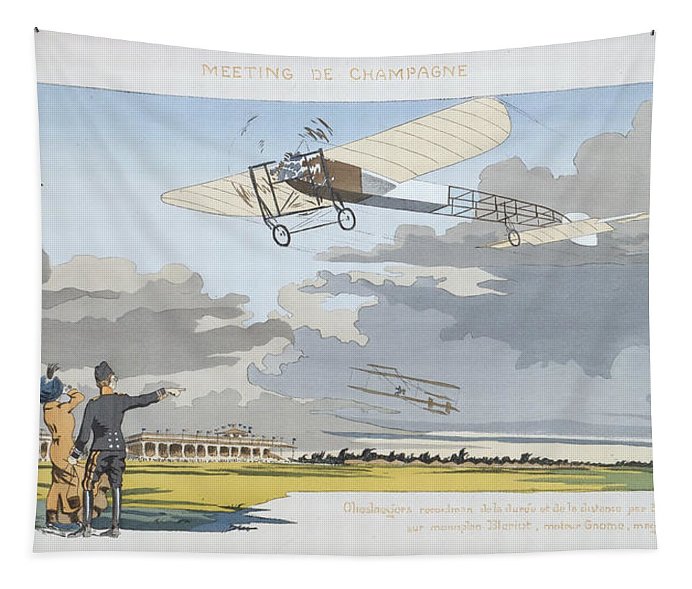 Pilot Tapestry featuring the painting Aviation Meeting At Champagne by Marguerite Montaut
