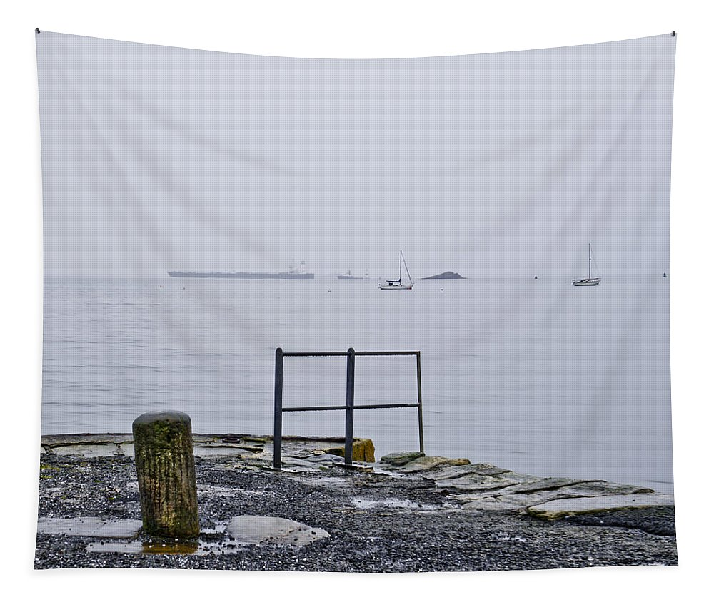 Aberdour Boat Club Tapestry featuring the photograph Awaiting The Return by Elena Perelman