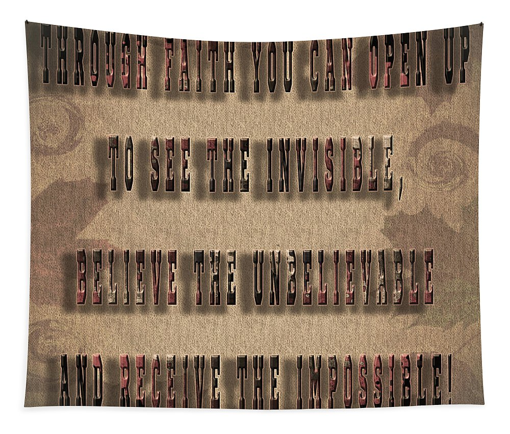 Faith Tapestry featuring the painting Awesome Inspiring Typography by Georgeta Blanaru