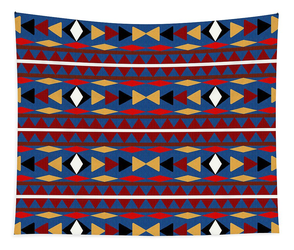 Aztec Tapestry featuring the mixed media Aztec Blue Pattern by Christina Rollo