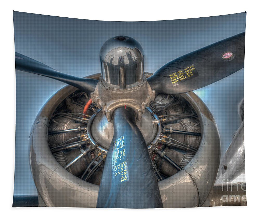 World War Ii Tapestry featuring the photograph B-17g Propeller by Dale Powell