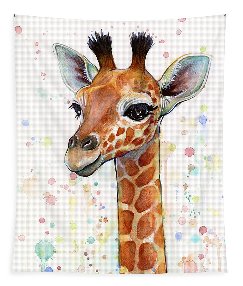 Watercolor Tapestry featuring the painting Baby Giraffe Watercolor by Olga Shvartsur