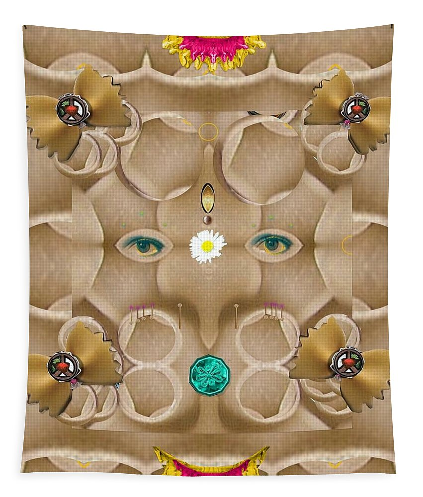 Ganesha Tapestry featuring the mixed media Baby Lord Ganesha by Pepita Selles