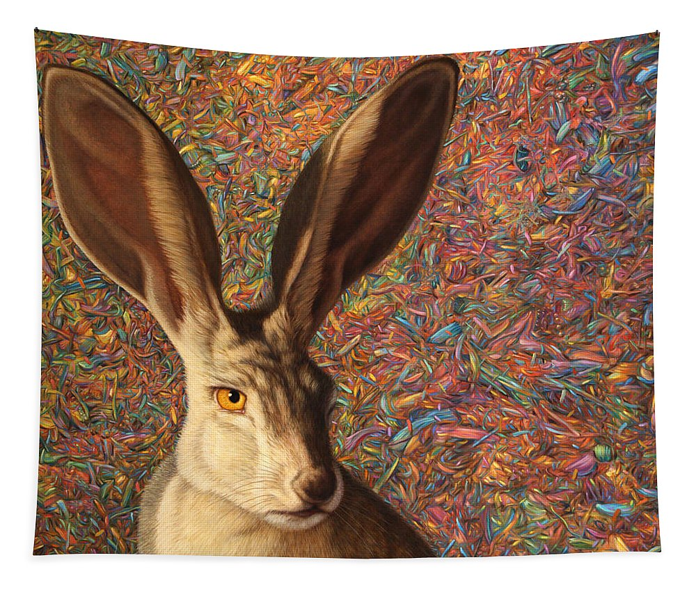 Rabbit Tapestry featuring the painting Background Noise by James W Johnson