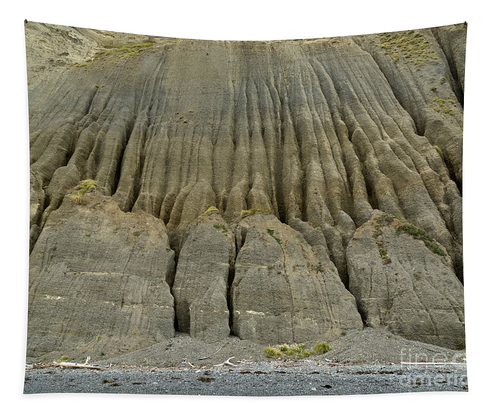 Background Tapestry featuring the photograph Badland Erosion Of Soft Conglomerate Sediment by Stephan Pietzko