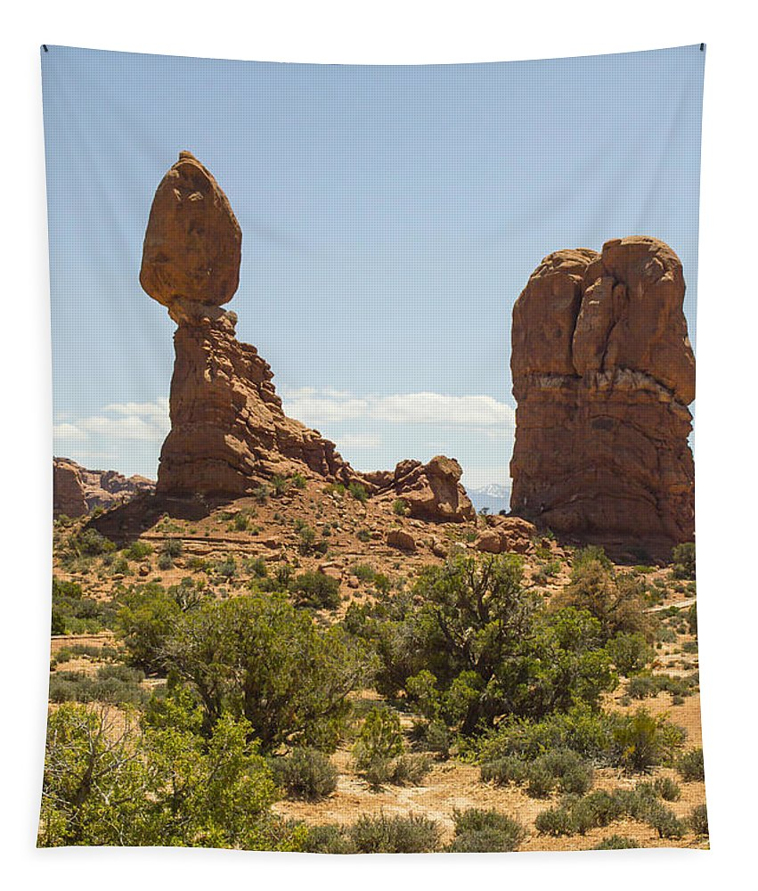 Balancing Tapestry featuring the photograph Balancing Rock In Arches by Gene Norris