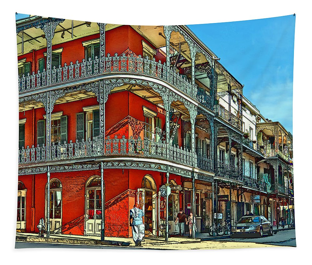 French Quarter Tapestry featuring the photograph Balconies Painted by Steve Harrington