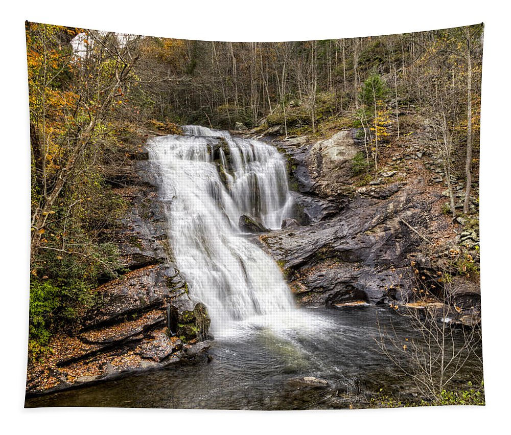 Apalachia Tapestry featuring the photograph Bald River Waterfall by Debra and Dave Vanderlaan