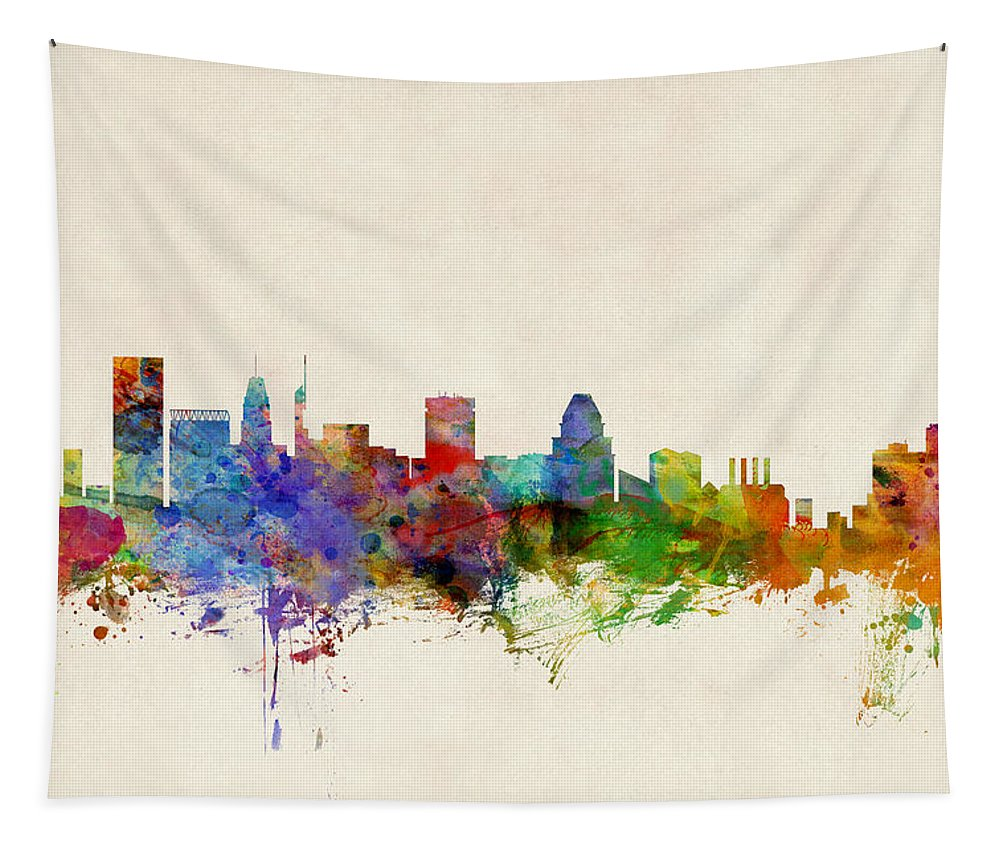 Watercolour Tapestry featuring the digital art Baltimore Maryland Skyline by Michael Tompsett