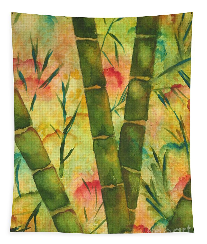 Fine Art Painting Tapestry featuring the painting Bamboo Garden by Chrisann Ellis