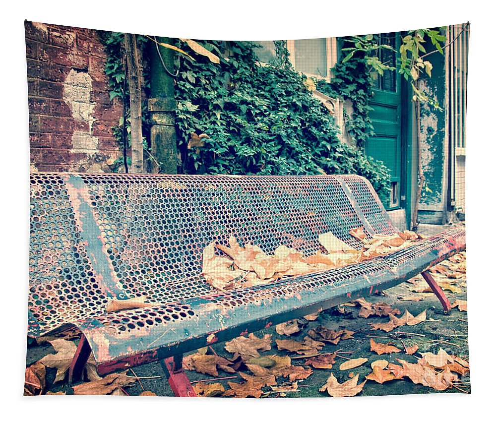 Paris Tapestry featuring the photograph Banc Public by Delphimages Photo Creations
