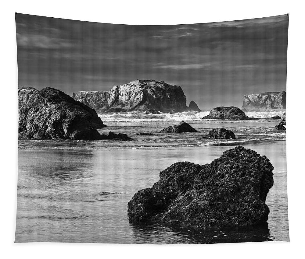 Oregon Tapestry featuring the photograph Bandon Sea Stacks Black And White by Mark Kiver