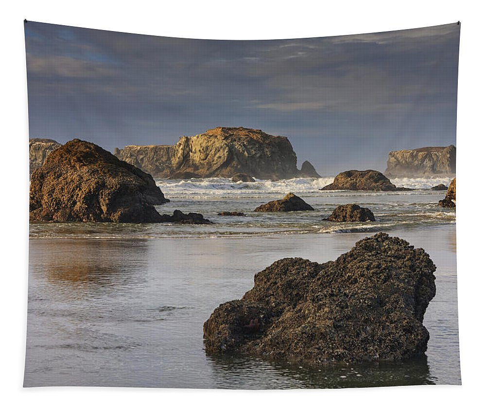 Oregon Tapestry featuring the photograph Bandon Sea Stacks by Mark Kiver