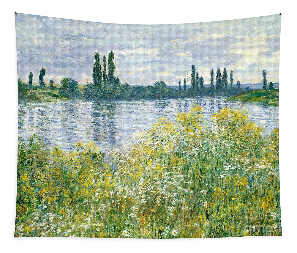 Landscape; River; Rural; Summer; Wild Flowers; Yellow; Reflection; Water; Blue Sky; Impressionist; French Tapestry featuring the painting Banks Of The Seine Vetheuil by Claude Monet