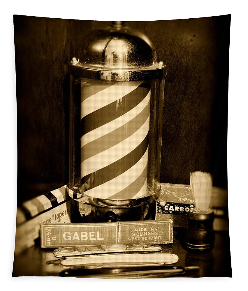 Barber - Vintage Barber Tapestry featuring the photograph Barber - Barber Pole - Black And White by Paul Ward