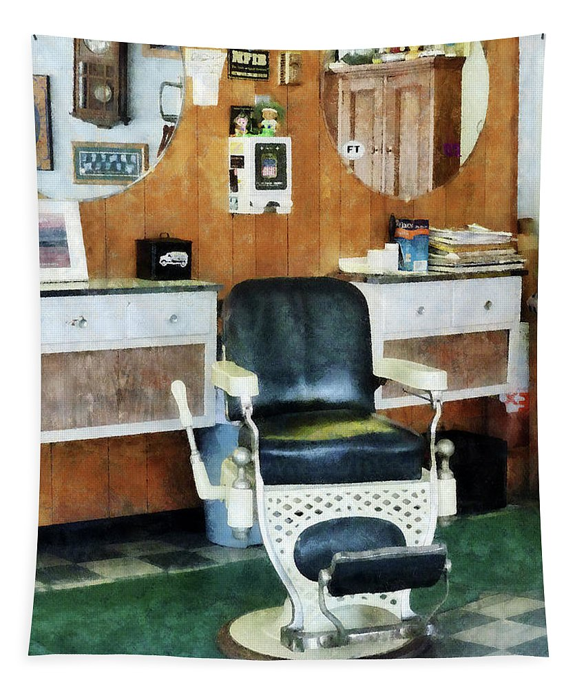 Barber Tapestry featuring the photograph Barber - Barber Shop One Chair by Susan Savad
