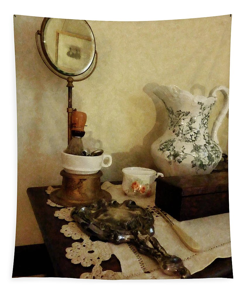 Shaving Brush Tapestry featuring the photograph Barber - Shaving Brush Mugs And Mirror by Susan Savad