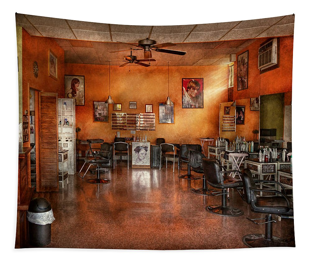 Barber Tapestry featuring the photograph Barber - Union Nj - The Modern Salon by Mike Savad