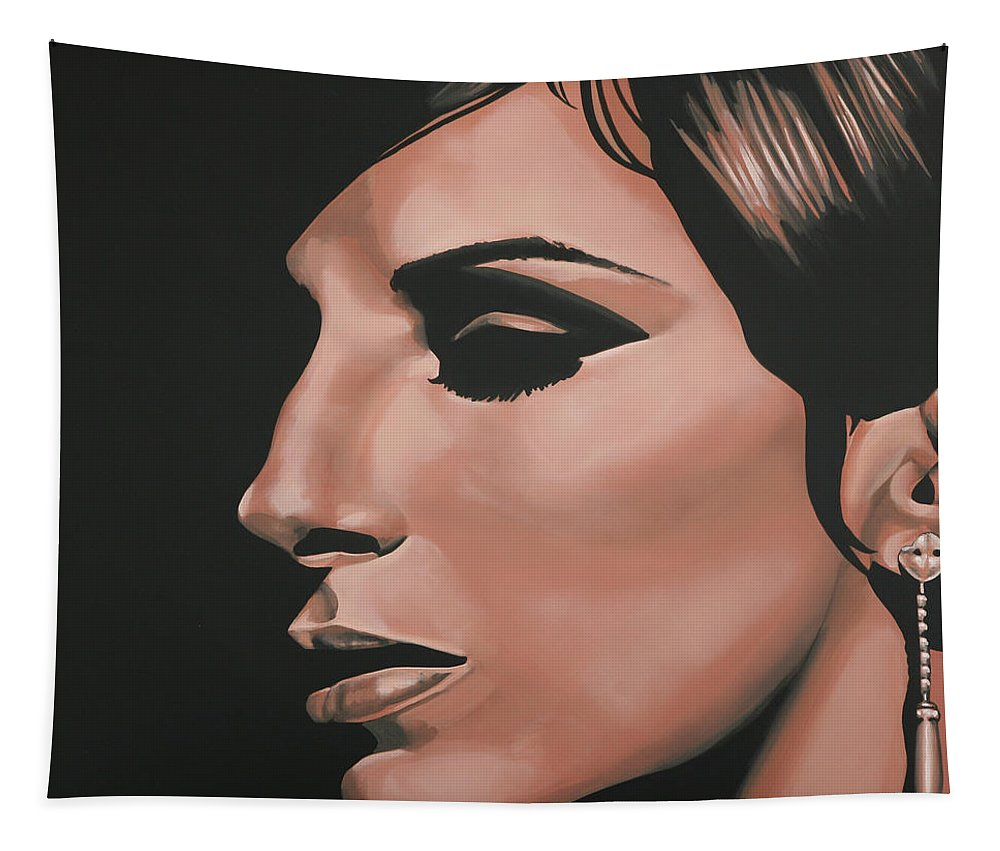 Barbra Streisand Tapestry featuring the painting Barbra Streisand by Paul Meijering