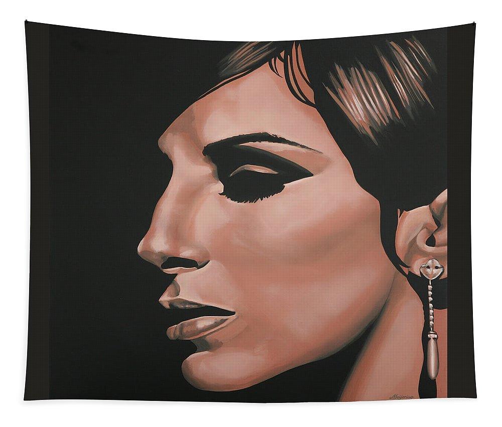 Barbra Streisand Tapestry featuring the painting Barbra Streisand by Paul Meijering