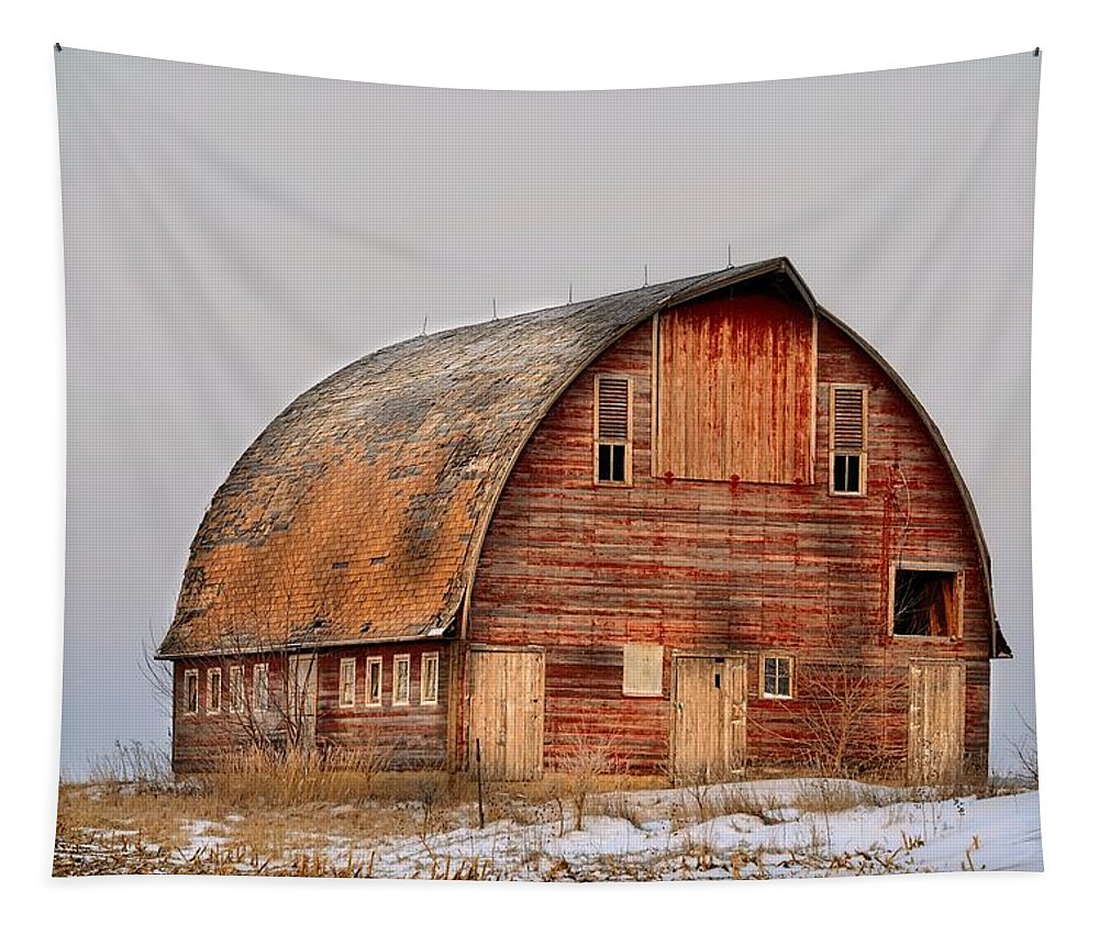 Rustic Tapestry featuring the photograph Barn On The Hill by Bonfire Photography