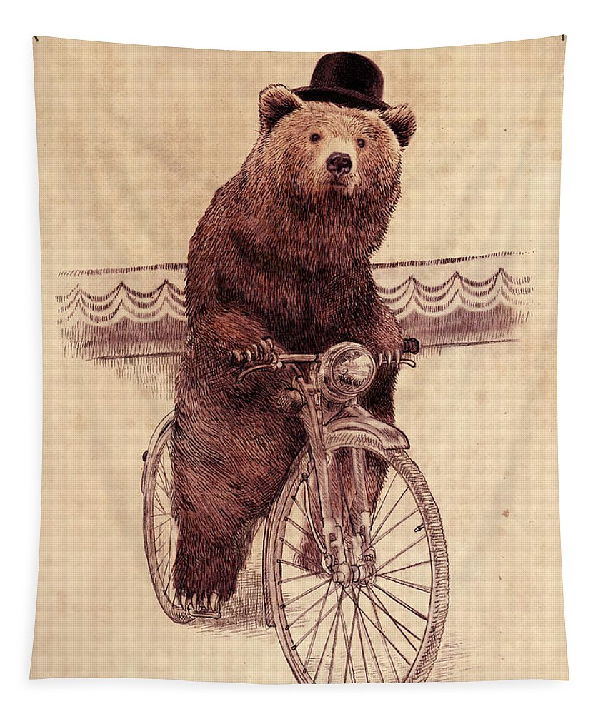 Bear Tapestry featuring the drawing Barnabus by Eric Fan