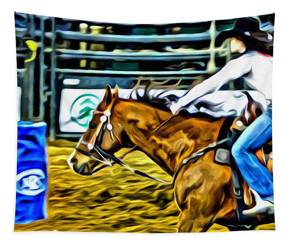 Cowgirl Tapestry featuring the photograph Barrel Time by Alice Gipson
