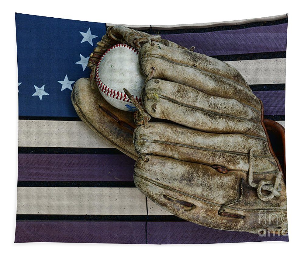 Paul Ward Tapestry featuring the photograph Baseball Mitt On American Flag Folk Art by Paul Ward