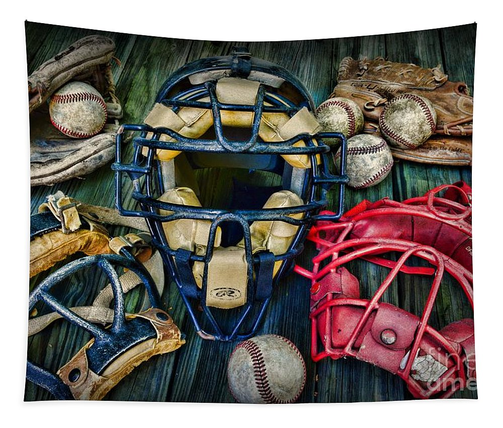 Paul Ward Tapestry featuring the photograph Baseball Vintage Gear by Paul Ward