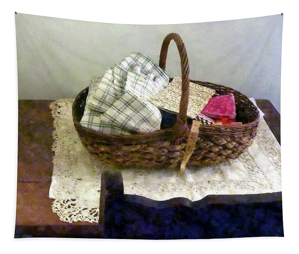 Measuring Tape Tapestry featuring the photograph Basket With Cloth And Measuring Tape by Susan Savad