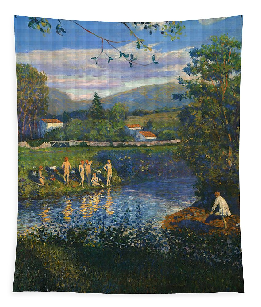 Painting Tapestry featuring the painting Bathing In Renteria by Mountain Dreams