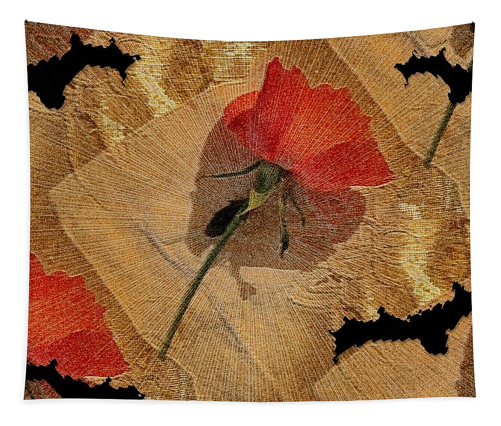 Floral Tapestry featuring the mixed media Bats And Roses by Pepita Selles
