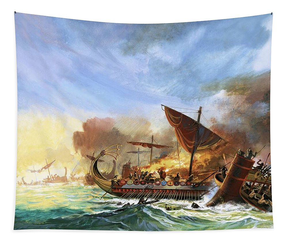 Persia Tapestry featuring the painting Battle Of Salamis by Andrew Howat