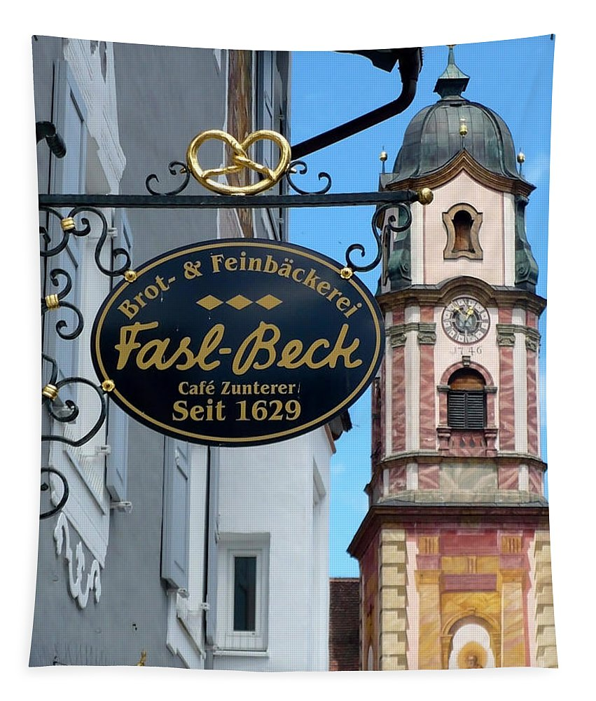 Bakery Sign Tapestry featuring the photograph Bavarian Bakery Sign by Carol Groenen