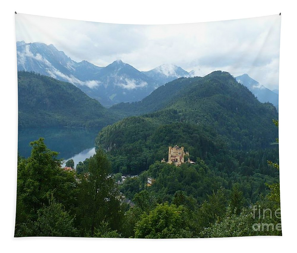 Bavaria Tapestry featuring the photograph Bavarian Lake With Castle by Carol Groenen