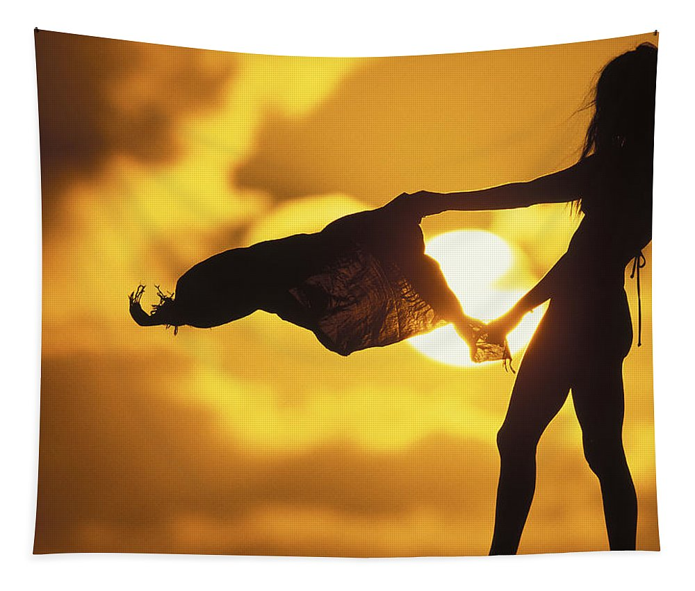 Big Sun Tapestry featuring the photograph Beach Girl by Sean Davey