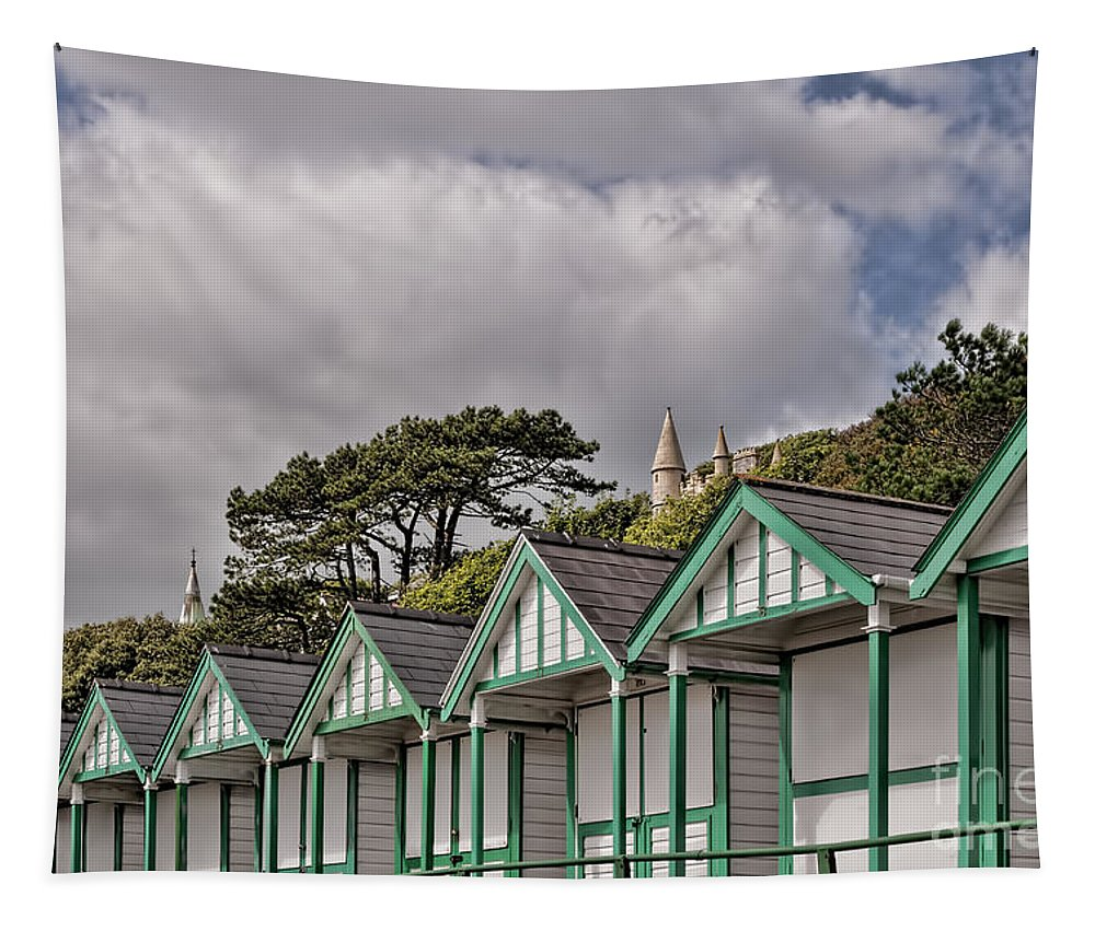 Beach Huts Tapestry featuring the photograph Beach Huts Langland Bay Swansea 3 by Steve Purnell