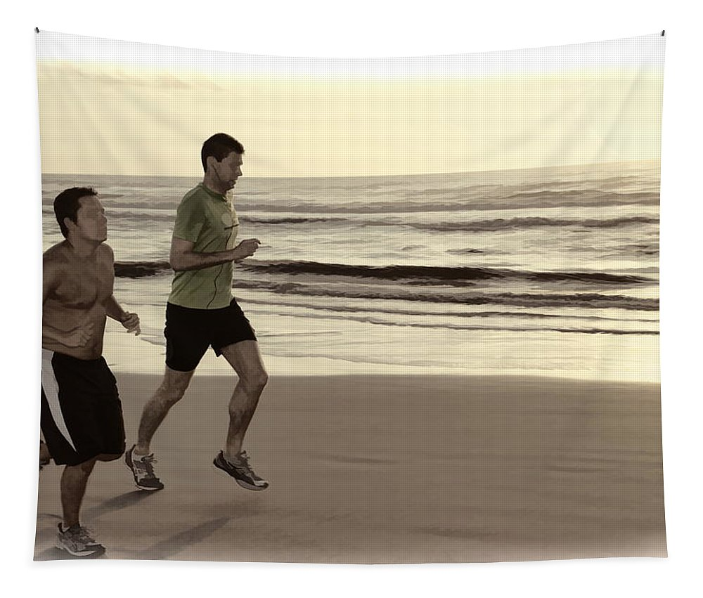 Two Men Jogging Beach Ocean Waves Tapestry featuring the photograph Beach Joggers by Alice Gipson