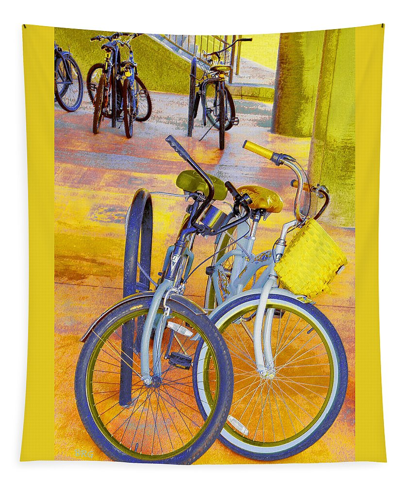 Bicycle Tapestry featuring the photograph Beach Parking For Bikes by Ben and Raisa Gertsberg